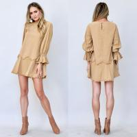 Wholesale 100% cotton scoop neck khaki dress with frayed detailing from china suppliers