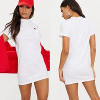 Wholesale Women Classic Version White Heart Embroidered T Shirt Dress With O Neck from china suppliers