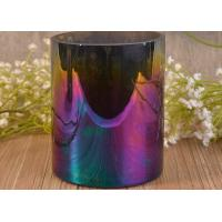 Wholesale Wedding Decoration Glass Candle Holder Cylinder Round Iridescent Ombre Colorful from china suppliers