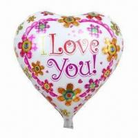 Buy cheap 18-inch Foil Balloon for Parties, with I Love You Printing, Heart Shape, OEM from wholesalers