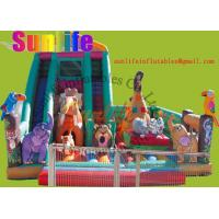 Wholesale inflatable animal zoo funny castle with a big slide from china suppliers