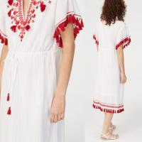 Wholesale Embroidery Tassel Boho Cotton Dress Women from china suppliers