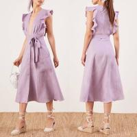 Wholesale Clothing Fashion Women Ruffle Shoulder Midi Linen Dress Ladies from china suppliers