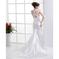 Quality fall Cross Back boat neck Bra Wedding Dresses cathedral train wedding gowns for sale