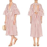 Wholesale Women deep v neck stripe linen dress and unbacked from china suppliers