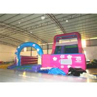 Wholesale Disney princess pink inflatable wide slide with jump area inflatable big dry slide bounce house from china suppliers