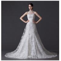 Wholesale Unique Pearl illusion neckline Halter Neck Wedding Dresses with Lace back from china suppliers
