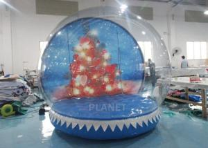 China Outdoor Decorations Christmas Inflatable Human Size Santa Snow Globe Ball With Backdrop on sale