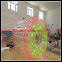 Quality PVC1.2MM Colorful 2.2m hot air welding  Floating Kids Toys colorful  Inflatable water roller ball for water pool for sale