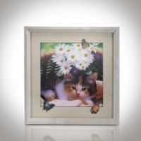 Wholesale CMYK 3D Lenticular Pictures With MDF Frame Cat Design Decorative Printing from china suppliers