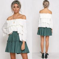 Wholesale Womens Tops Blouses 2018 Off Shoulder Ruffle Top In White from china suppliers