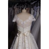 Quality Chic Knee Length Sweetheart Lace Wedding Dress with Short Sleeve for Bridal for sale