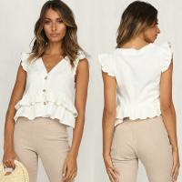 Wholesale Wholesale Clothing White 100% Cotton V Neck Lady Top from china suppliers