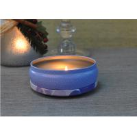 Quality 560ml Purple Printed Tin Candle Holders Refillable Wax Container for sale