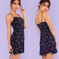 Wholesale Fashion women's sweet mini slim fit dress with cherry printing from china suppliers