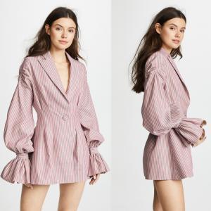 Wholesale Stripe ballon sleeves V neck blazer mini dress from china suppliers