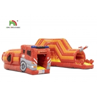 Wholesale PVC 0.55mm 21ft Red Fire Truck Inflatable Obstacle Course For Kids from china suppliers