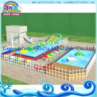 Buy cheap Metal Frame Amusement Park Inflatable Inground Pool With Pool and Slide from wholesalers