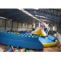 China Commercial Exciting Blue Inflatable Water Park With Swimming Pools on sale