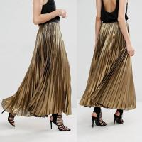Wholesale Custom service women clothes latest skirts design gold long pleated skirt from china suppliers