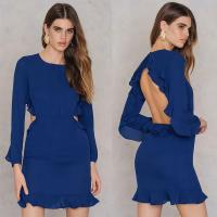 Wholesale Latest Ruffle Open Back Design Blue Formal Dresses Women from china suppliers