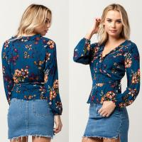 Wholesale Latest Long Sleeve New Design Floral Printed Tops from china suppliers