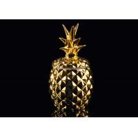 Wholesale Golden Glazing Pineapple Ceramic Candle Holder With Lid , 100% non toxic from china suppliers