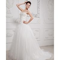 Quality Womens Elegant Beaded Gauze halter Wedding Dresses with Cathedral Train for sale