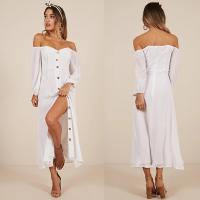 Wholesale Women Clothing Long Sleeve Sorrento Dreaming Dress In White Linen Look from china suppliers