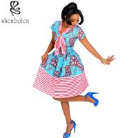 Wholesale Cotton African Print Dresses Women Ankara Striped Cloth Stitching Batik Printing Dress from china suppliers