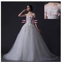 Wholesale Custom Detachable Strapless Mesh Appliques Wedding Dress with Diamond Beaded from china suppliers