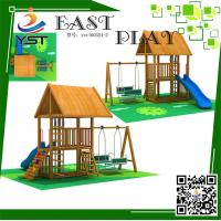 CE Certificated Wooden Playground Equipment , Wooden Swing And Slide Set