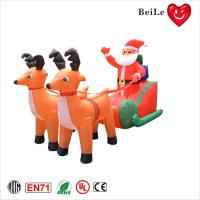 Quality Christmas festival decoration two inflatable reindeer pull sled with santa claus for sale