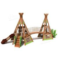 Wholesale Cactus Castle Kids Outdoor Playset , Wooden Playground Set For 2 - 6 Years Old from china suppliers