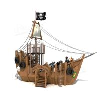 Wholesale Factory Made Black Large Pirate Ship Slide Wooden Outdoor pirate playgrounds park from china suppliers