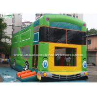 Outdside Green Bus Inflatable Bounce Houses Backyard Bouncers Custom