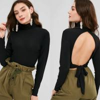 Wholesale Blank Open Back Long Sleeve Ribbed Turtleneck Crop Top from china suppliers