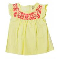 Wholesale Girls Summer Infant Baby Clothes Solid Top With Ruffle Sleeve Yellow Color from china suppliers