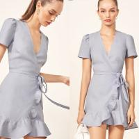 Wholesale Ladies Summer Fashion Clothing Linen Fabric Wrap Dress from china suppliers
