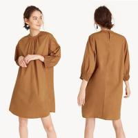 Wholesale 2018 Simple midi smock cuff brown oversize dress for women from china suppliers