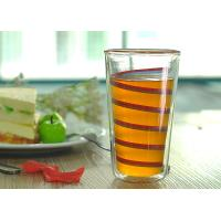 Wholesale Elegant Double Wall Borosilicate Glass Ribbon Decal Inside Decoration Glass Juice Cups from china suppliers