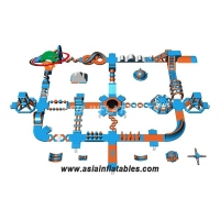 Light Blue and Orange 50 x 40 M Inflatable Floating Aqua Park Water Park For Cable Park