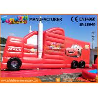 China Fun Truck Bounce House Inflatables Obstacle Course Red Fire Retardant on sale