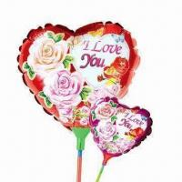Wholesale 9-inch Heart-shaped Balloon Toy with Cup Stick, Made of Nylon Aluminum and PE, Two Colors Available from china suppliers