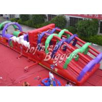 Red PVC Giant Inflatable Backyard Obstacle Course For Outdoor Advertisement