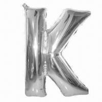 Wholesale Letter Balloon-K, made of PA and PE and AL ,golden and silver colors ,used for party or weddings from china suppliers