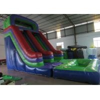 Quality Dark Green Large Commercial Inflatable Water Slides / Bounce House With Slide for sale