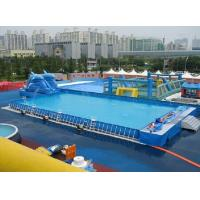 Wholesale Durable Backyard Ground Metal Frame Pool Blue Inflatable Swimming Pool 0.9 PVC Tarpaulin from china suppliers