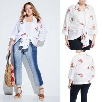 Wholesale Embroidered Tie-Front Plus Size Korean Fashion Design Linen Women Blouse Ladies from china suppliers