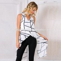 Wholesale Back split printed cross over top ladies latest long tops from china suppliers